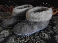 Меховые зимние тапки своими руками
