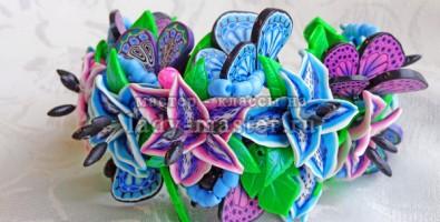 Составление трости с рисунком лепестка лилии из термопластики