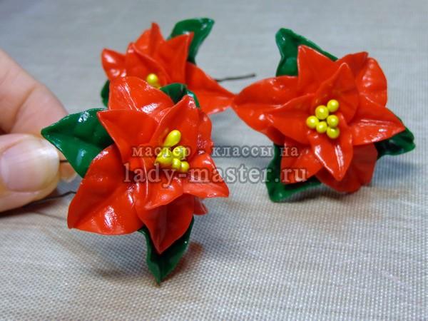 Пуансетия (рождественская звезда) из полимерной глины, фото