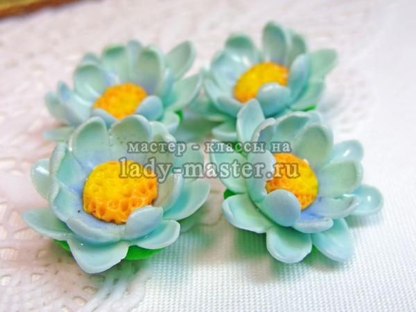 Голубые цветы из полимерной глины, мастер - класс, фото