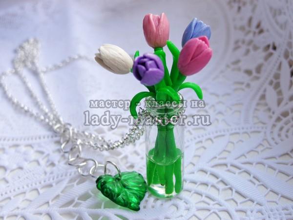 тюльпаны из полимерной глины, фото
