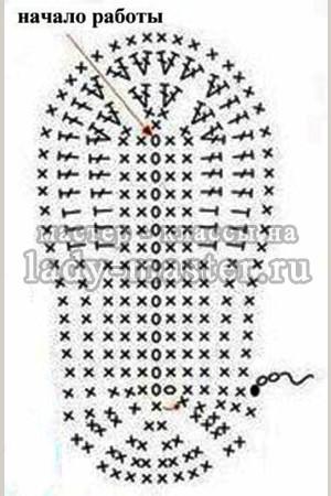 схема крючком тапочек
