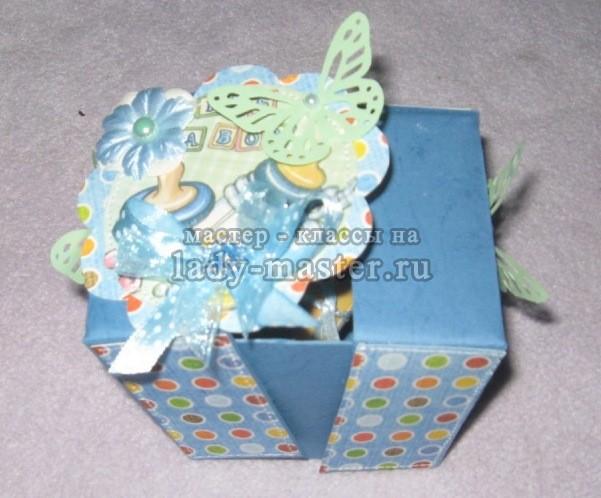 Коробочка для новорожденного мальчика, в технике скрапбукинг мастер — класс