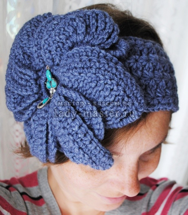 Как связать цветок крючком (для украшения повязки на голову или одежды)