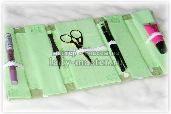 Стильный органайзер для косметики своими руками из картона и ткани