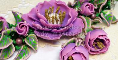 Комплект украшений из полимерной глины «Сиреневое настроение».