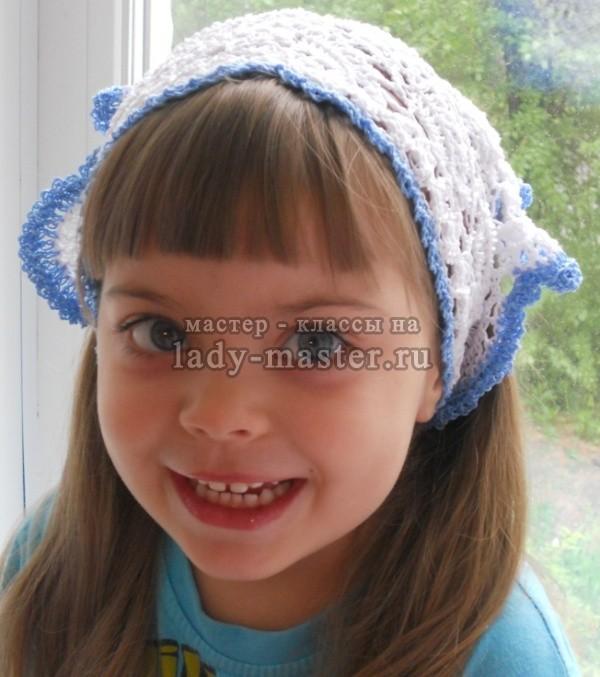 вязание крючком косынки для девочки