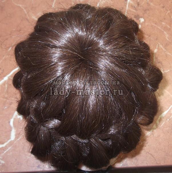 прическа корона из кос, фото