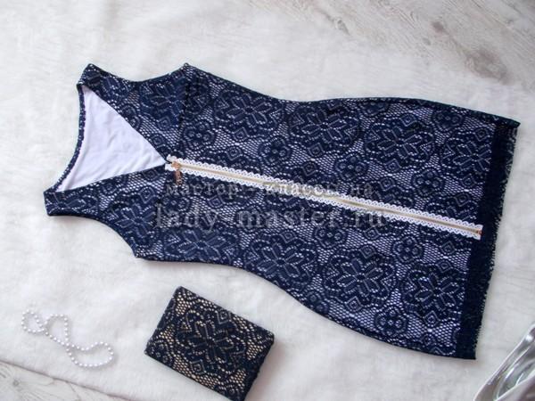 синее платье из гипюра, фото