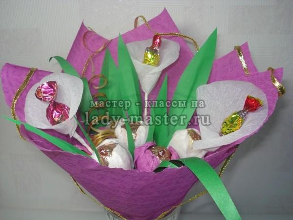 Букет пионов из конфет своими руками