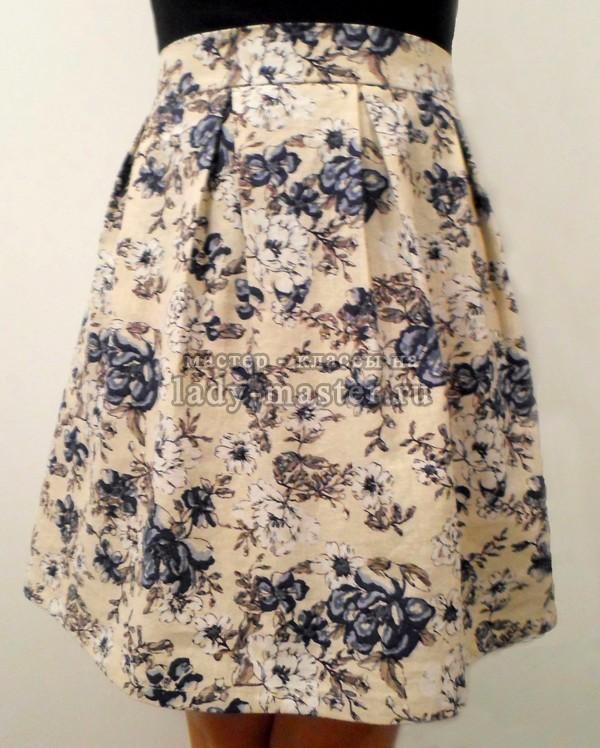 пошив юбки со складками встречными, фото