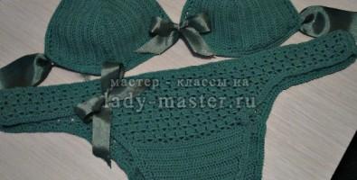 Зеленый вязаный купальник своими руками — модный и стильный!