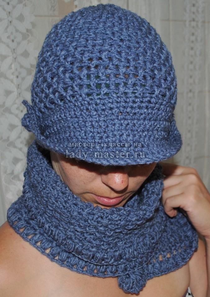 шапка из плюшевой пряжи крючком для женщин