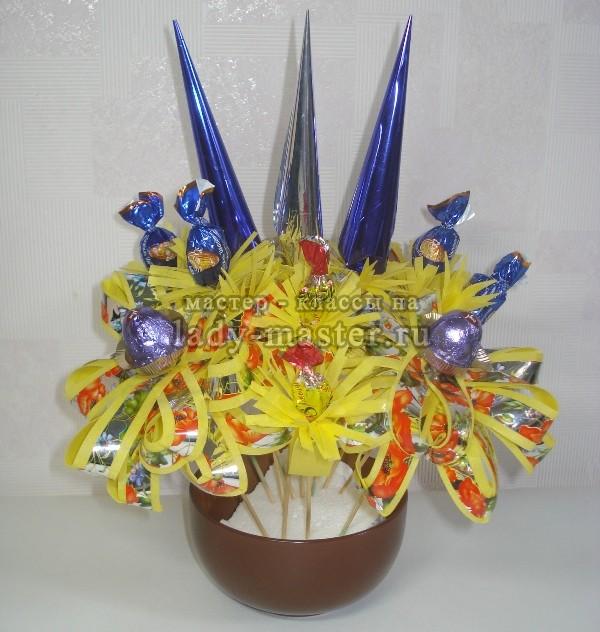 Букет с конфетами своими руками пошагово