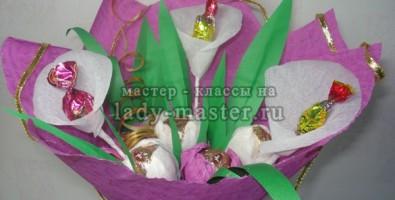 Букет из тюльпанов и калл