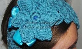 Как связать повязку на голову с цветком