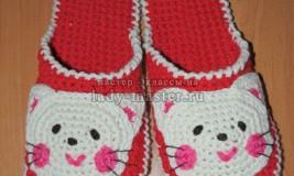 Вяжем домашние тапочки в стиле «Hello Kitty» крючком