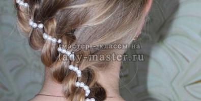 Коса из четырех прядей с бусами