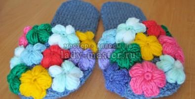 Тапочки «Цветочная поляна» своими руками