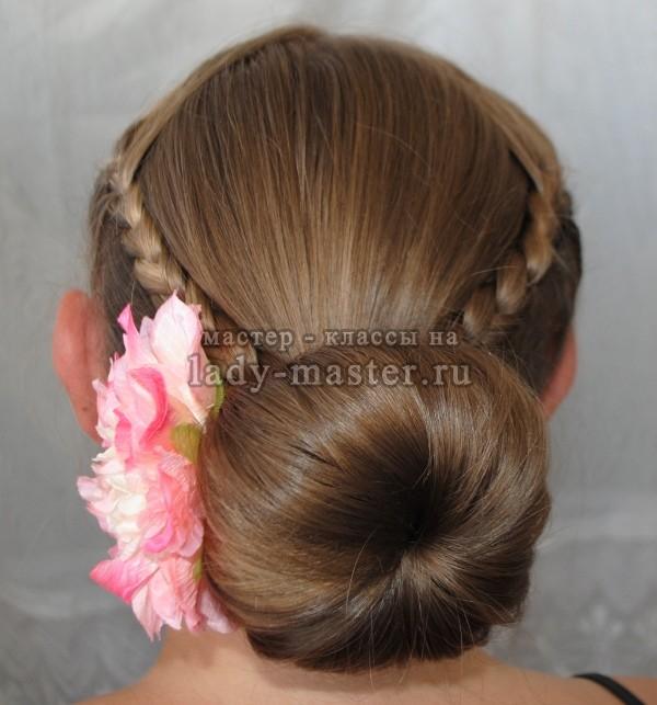 как сделать объемный пучок с косами, фото