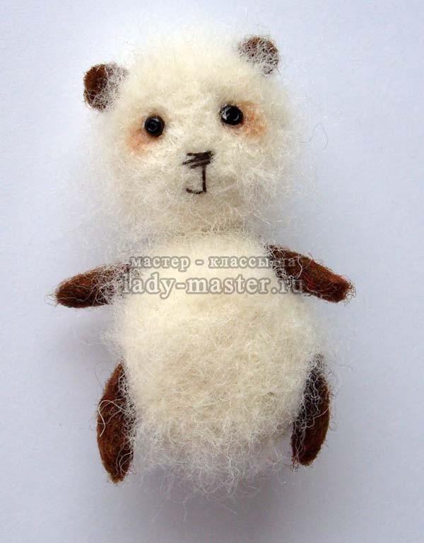 Мастер-класс фильцевание (сухое валяние шерстью) игрушки «Панда»