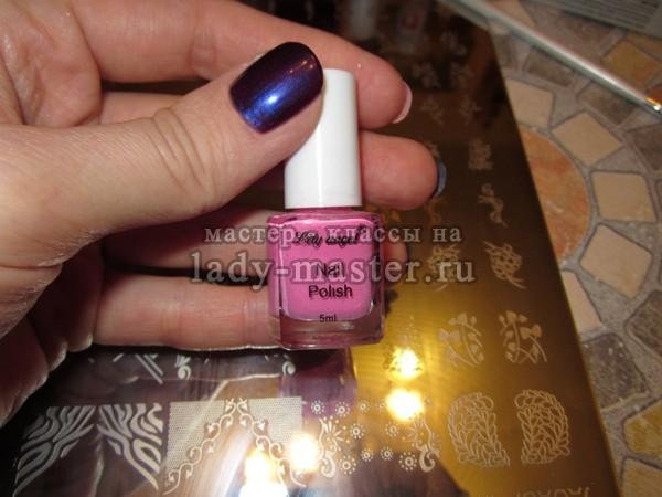 Фиолетовый маникюр с блестками, мастер - класс с фото, пошагово