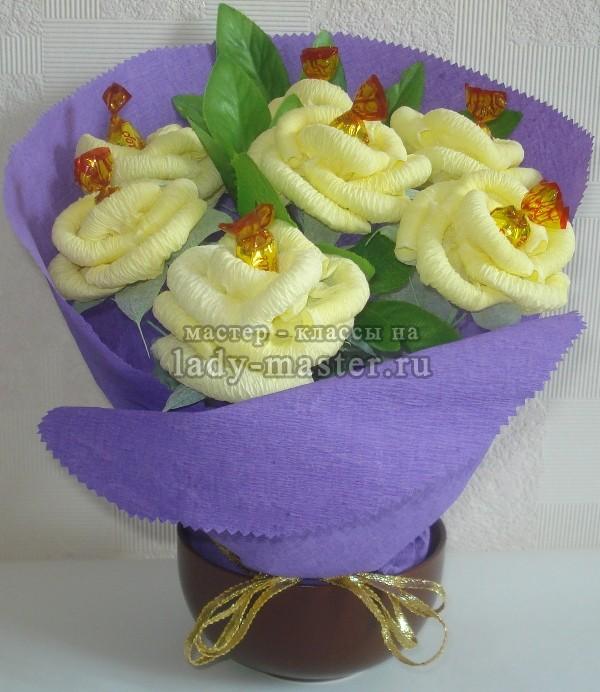 розы из салфеток бумажных, фото