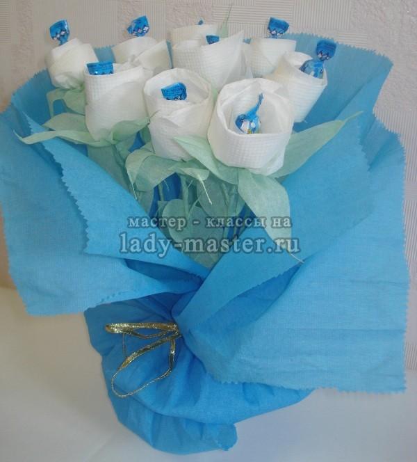 как сделать розу из салфетки, фото