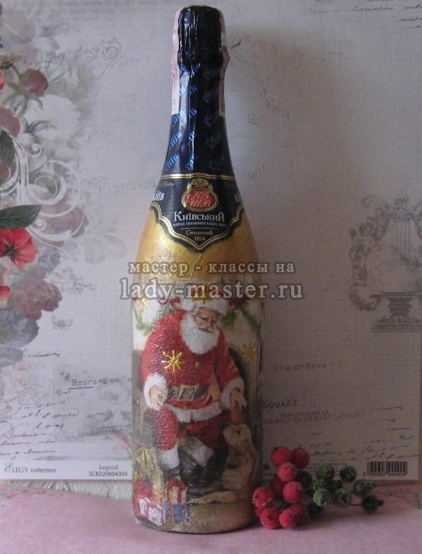 декупаж новогодних бутылок, фото