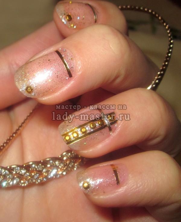 маникюр полоски на ногтях, фото