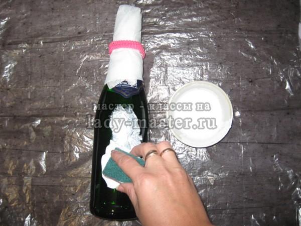 Декупаж бутылки пошагово с фото