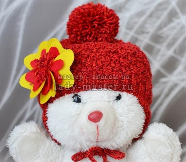 Две красивые вязаные шапочки для девочки