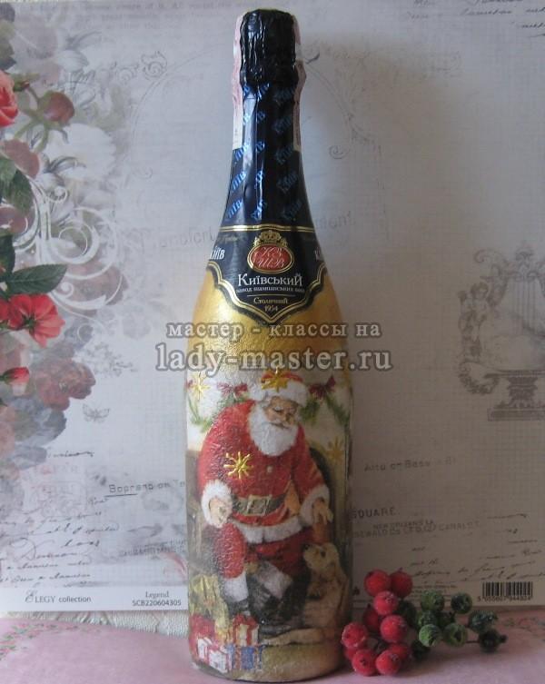 Новогодняя бутылка шампанского в технике декупаж