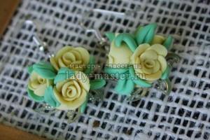 Желтые розы из полимерной глины