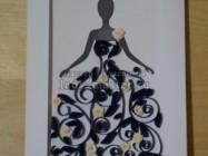 """Квиллинг-открытка """"Девушка в платье"""""""