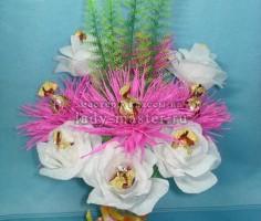 Букет из роз и георгинов