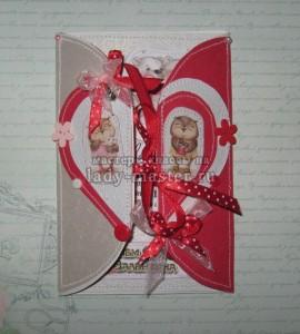Открытка-валентинка в технике скрапбукинг