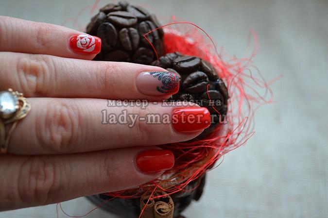 маникюр розы на ногтях, фото