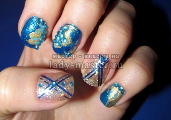 синий маникюр на коротких ногтях, фото