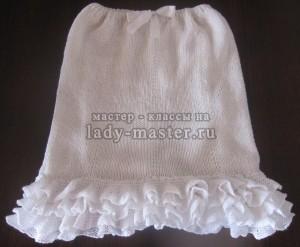 Белая юбочка с воланами из ленточной пряжи (на 8 лет)