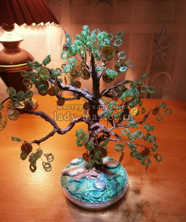 Денежное дерево из бисера пошагово и из монет