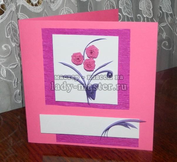 открытка с розами своими руками, фото