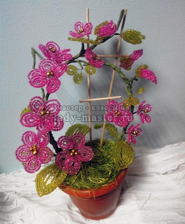 Большие цветы из бисера