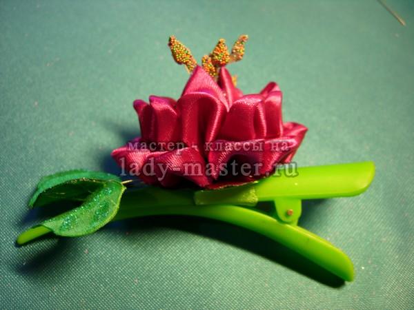 цветок на заколку канзаши, фото