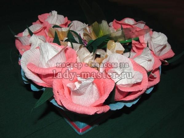 букет из конфет сердце, фото