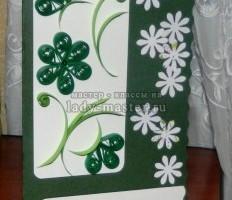 Праздничная открытка с ромашками