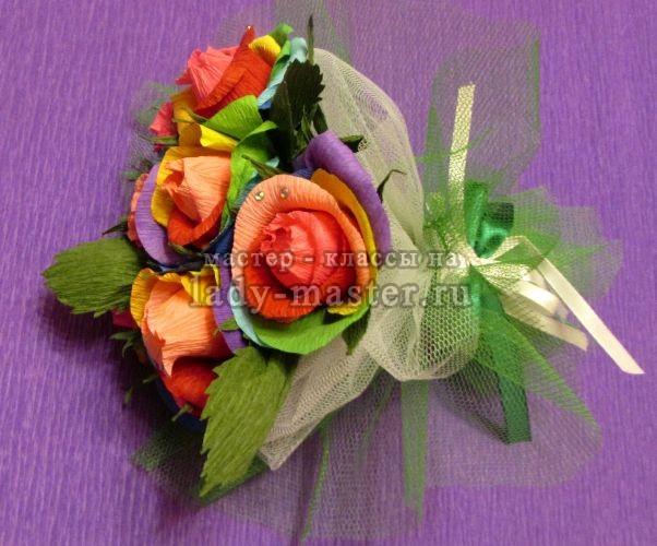 Сладкий букет радужных роз своими руками