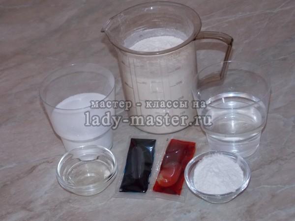 ингридиенты для изготовления домашнего пластилина, фото