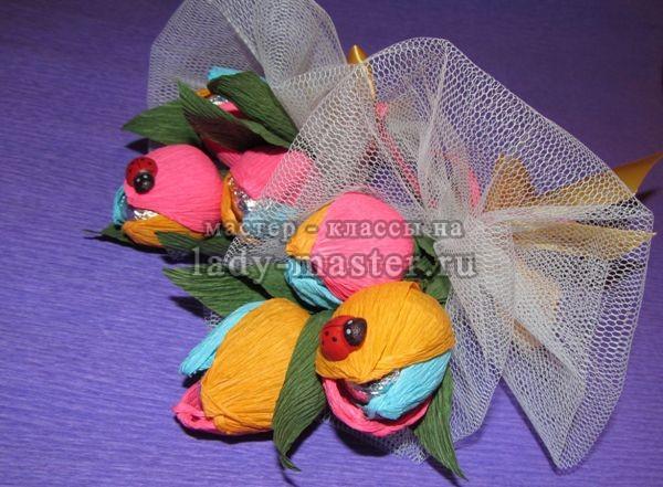 Букет из тюльпанов с конфетами своими руками, фото