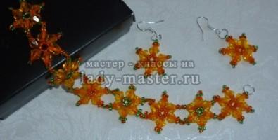 Набор, состоящий из сережек и браслета «Весна»